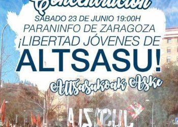 Manifiesto de la Plataforma de Apoyo a Altsasu de Zaragoza