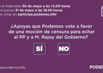 Más del 98% de los inscritos que participan en la consulta avalan el sí de Podemos a la moción de censura a M. Rajoy