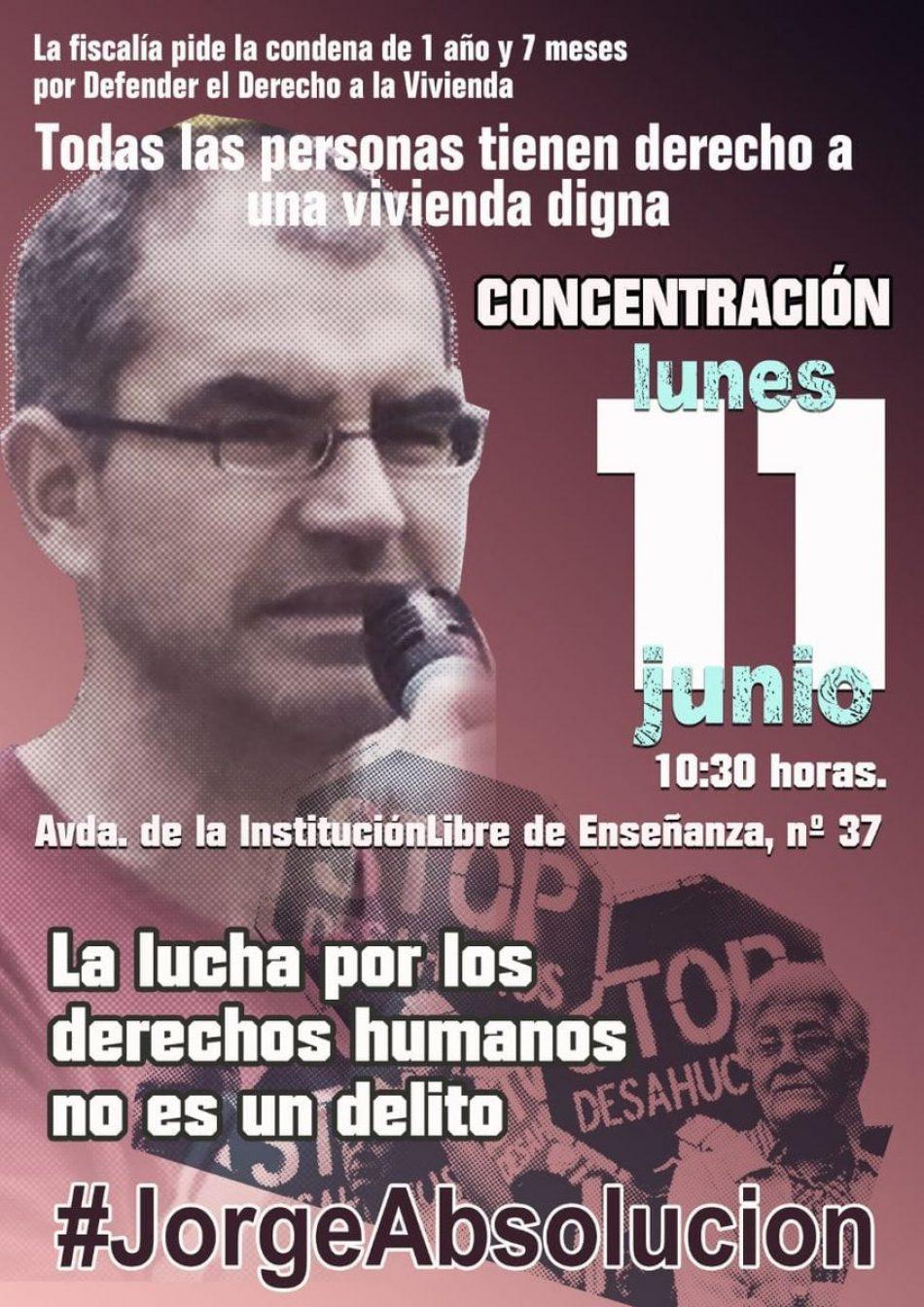 #JorgeAbsolución: concentración en apoyo a un activista detenido al resistir un desahucio en Vallecas. Denuncian montaje policial