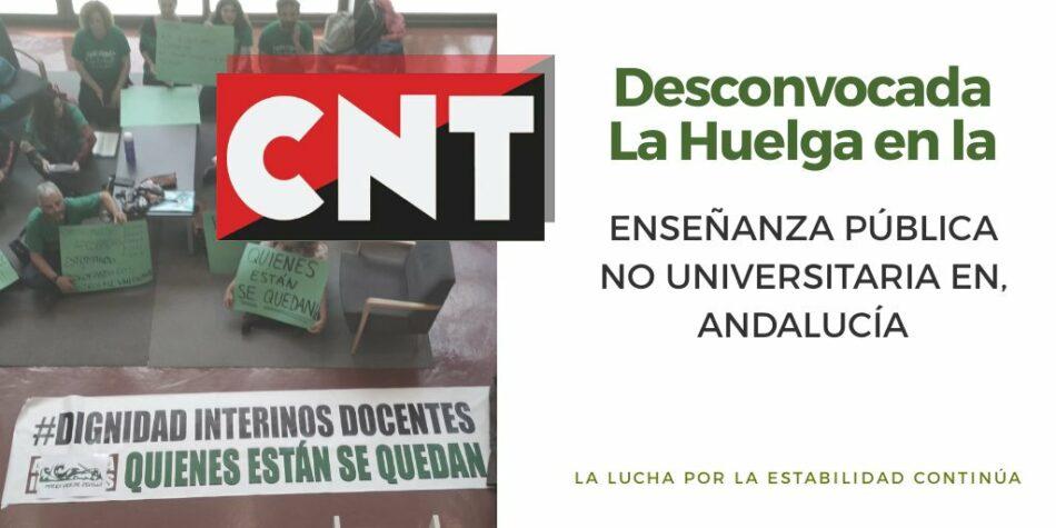 CNT desconvoca la huelga educativa en apoyo a los docentes interinos