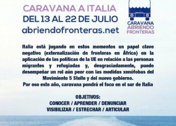 Caravana 'Abriendo fronteras' presenta la ruta que a partir del 13 de julio les llevará hasta Italia para denunciar las políticas migratorias de carácter xenófobo