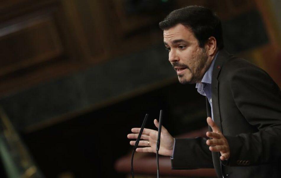 """Garzón tacha de """"mazazo"""" que Sánchez diga ahora que no puede tocar el modelo de financiación y le reprocha que """"tire por la borda"""" esta promesa por """"falta de voluntad política"""""""