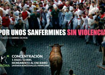 Concentración en Pamplona por unos Sanfermines sin violencia