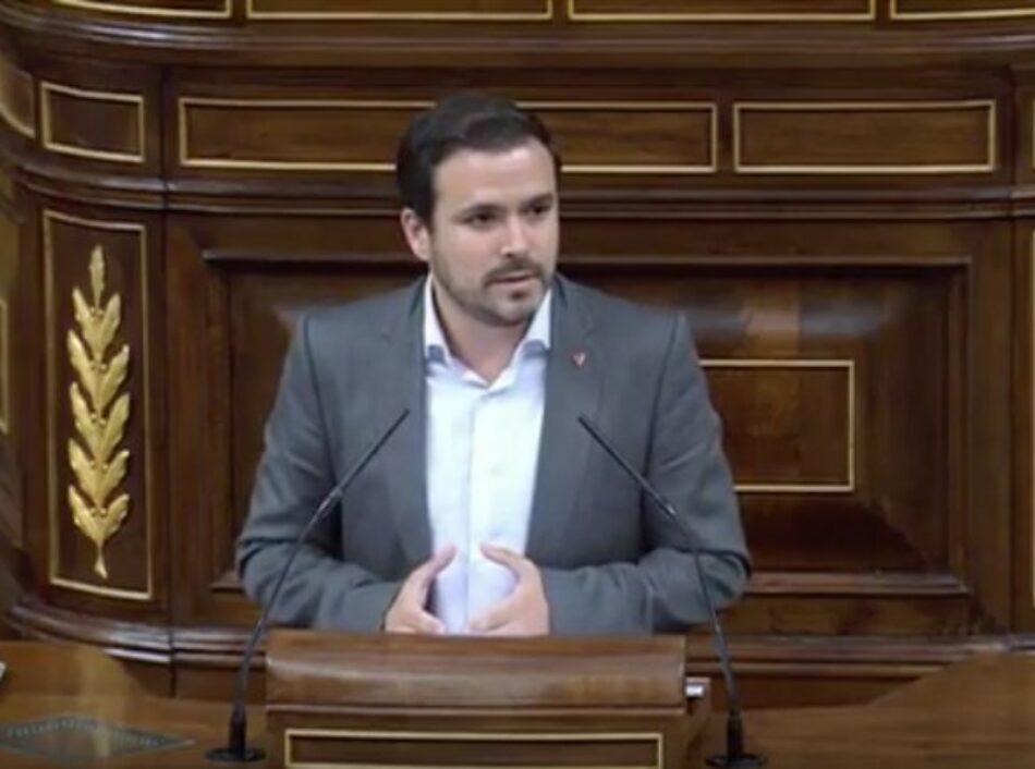 """Alberto Garzón señala al Gobierno que """"tiene margen"""" para aplicar una política económica distinta a la del PP y le insta a hacerlo con """"el techo y la regla de gasto, y con los Presupuestos para 2019"""""""