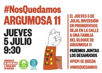 Llaman a parar el desahucio de cuatro familias en Argumosa 11 (Lavapiés) #NosQuedamos