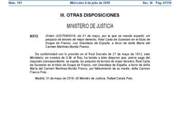ARMH: «La renovación del ducado de Franco maltrata a las víctimas de la dictadura»