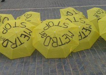Los vecinos de San Sebastián realizan una nueva acción de protesta contra el proyecto de Metro