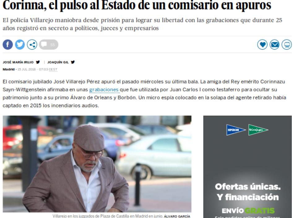 El diario monárquico El País dispara contra la fuente del escándalo de corrupción protagonizado por Juan Carlos I