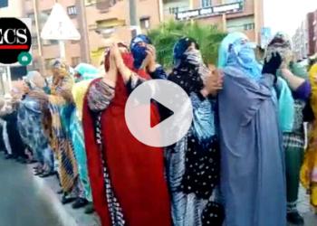 Cientos de mujeres Saharauis salen a las calles del Aaiún para protestar contra el expolio de los recursos naturales