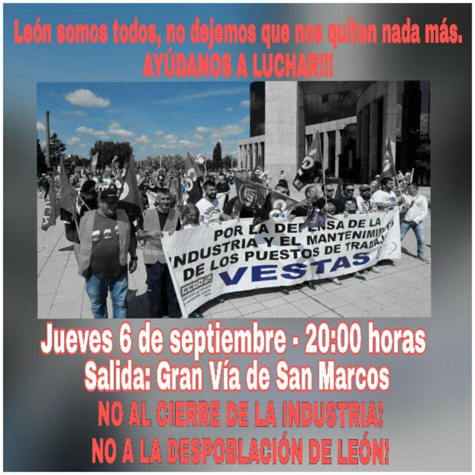 La plantilla de Vestas en León convoca una marcha contra el desmantelamiento de la industria