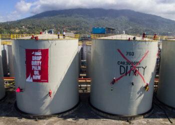 Greenpeace ocupa una refinería cargada de aceite de palma en Indonesia