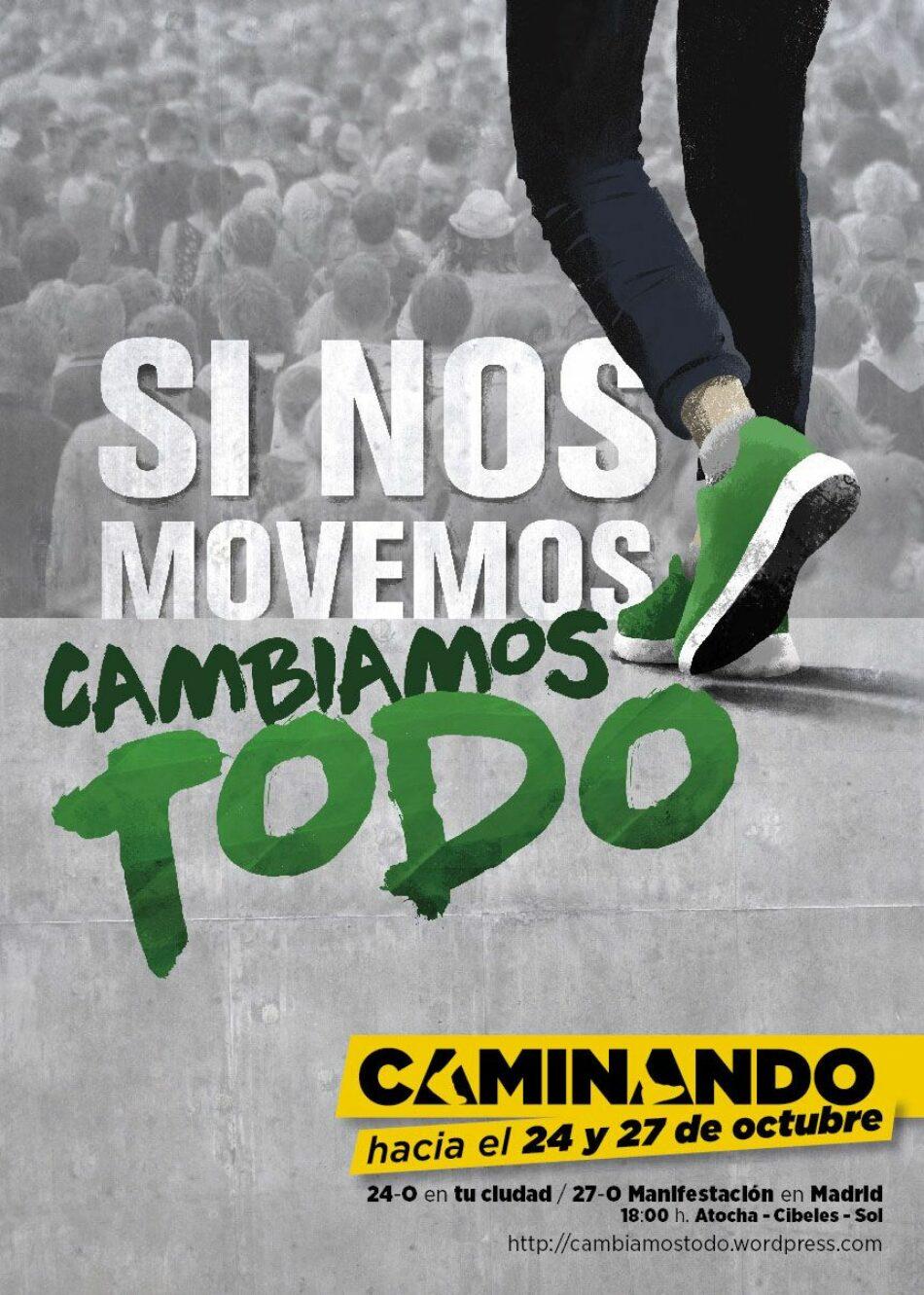 'Caminando hacia el 24 y 27-O' convoca acciones para el 24 de octubre en todo el Estado y manifestación el 27 en Madrid