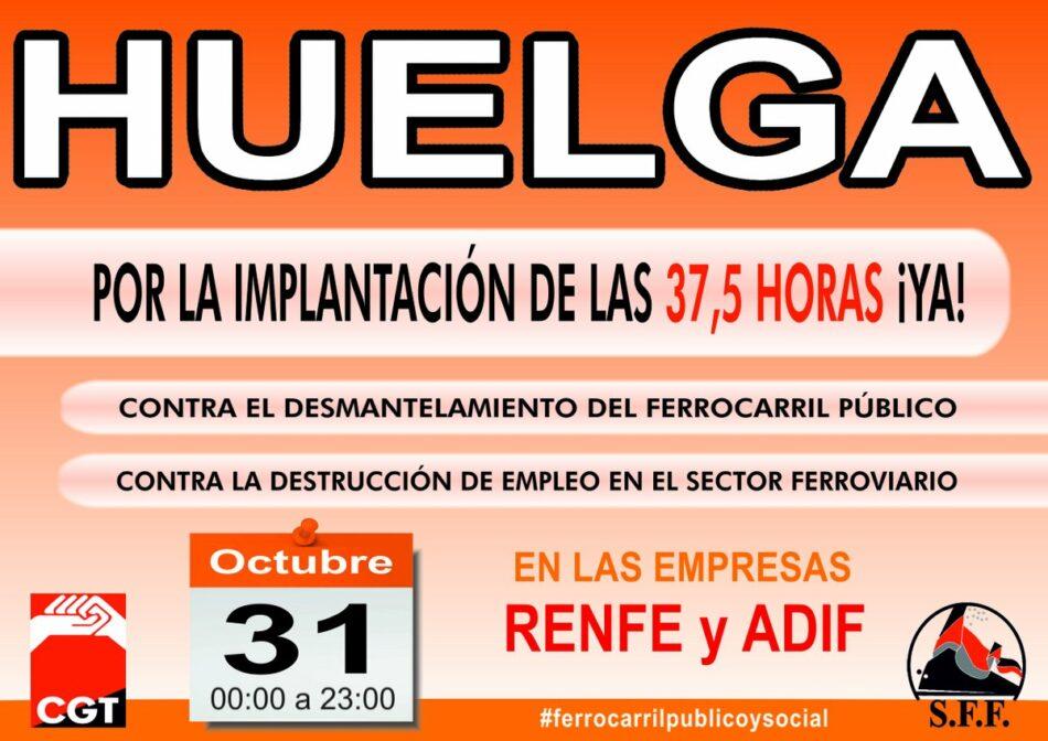 Sin acuerdo en la negociación, CGT mantiene la huelga en ADIF y RENFE el 31 de octubre
