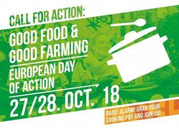 Colectivos ecologistas, agrarios, ganaderos y de consumidores se unen para reclamar una Buena Alimentación por toda Europa