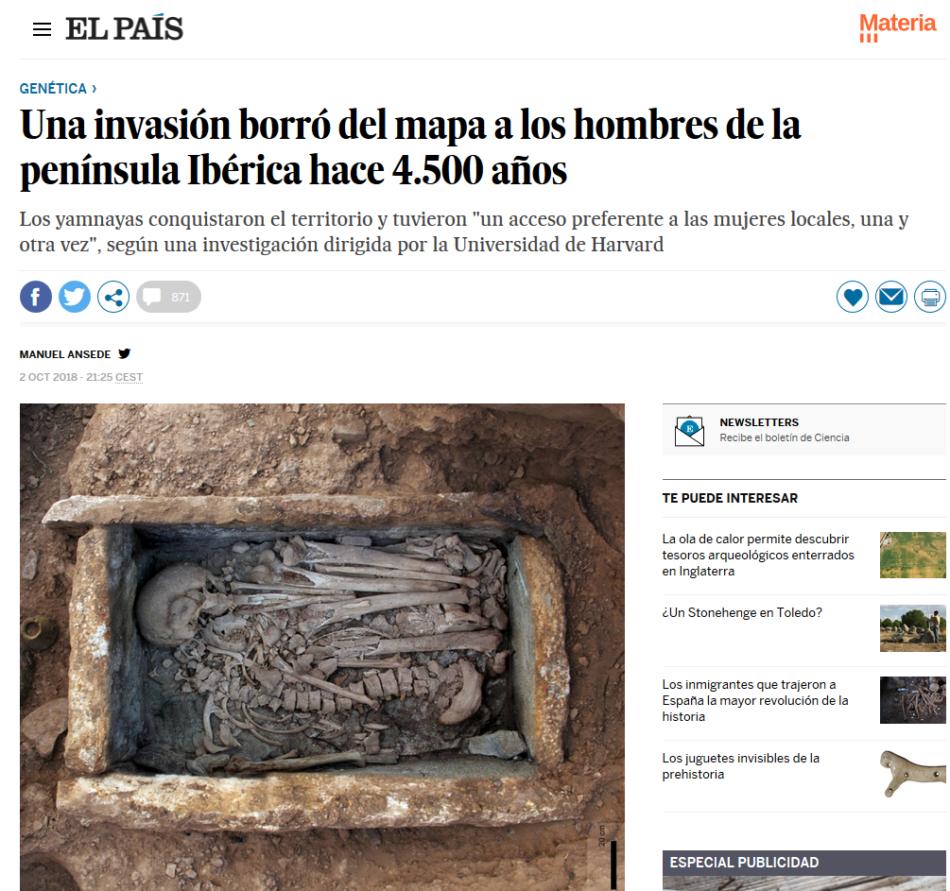 """Respuesta de 91 arqueólogos a El País y otros medios sobre la inconsistencia de la noticia """"Una invasión borró del mapa a los hombres de la península Ibérica hace 4.500 años"""""""