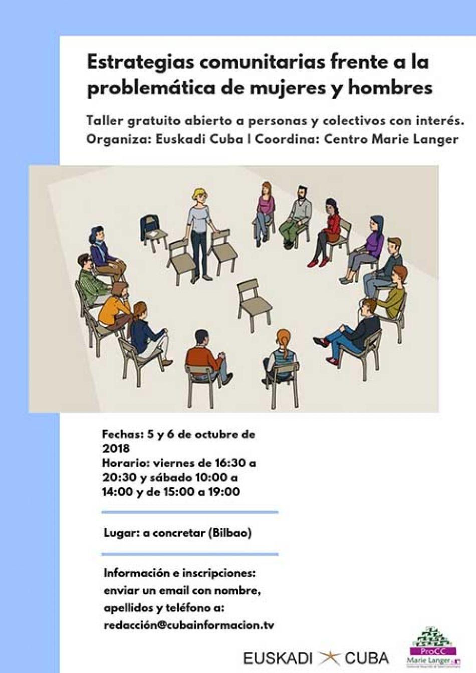 Bilbao: Inscripción taller «Estrategias comunitarias frente a la problemática de mujeres y hombres»