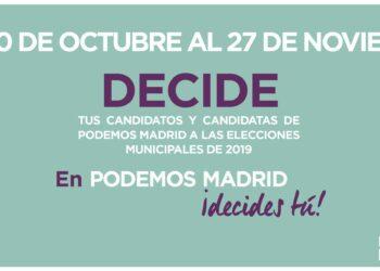 Podemos Madrid inicia sus primarias para conformar la candidatura de las municipales de 2019
