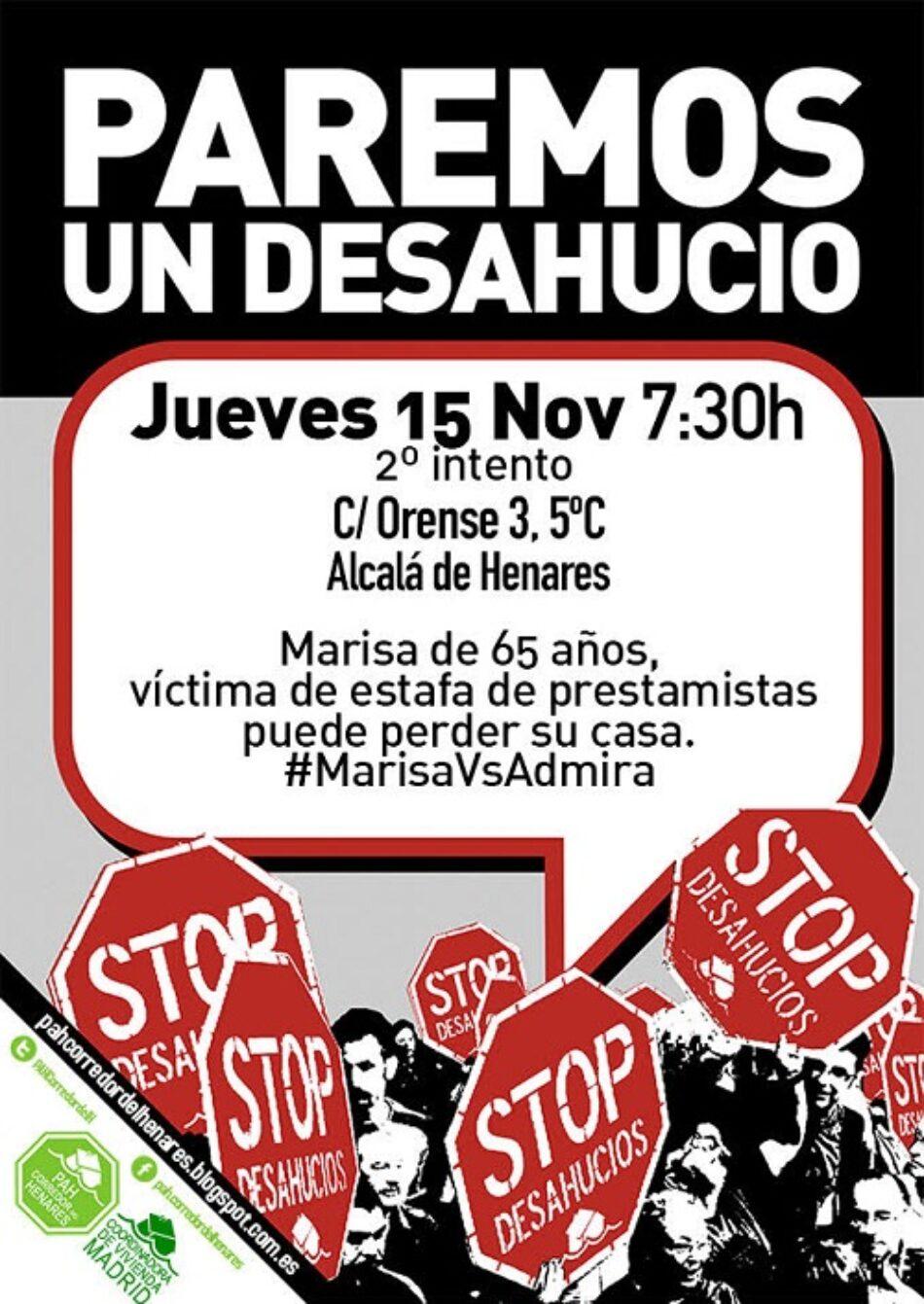 Este jueves en Alcalá la PAH intentará parar por segunda vez el desahucio de Marisa
