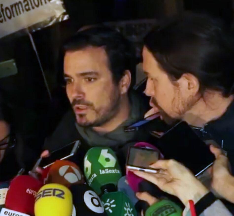 """Alberto Garzón ve que el Gobierno """"no hace el esfuerzo suficiente"""" para sacar adelante los Presupuestos Generales y valora que Sánchez debe llevarlos al Congreso y lograr más apoyos"""