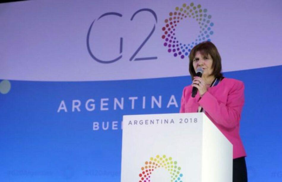 La ministra de seguridad argentina autoriza el uso de fuerza letal en las medidas de seguridad del G20