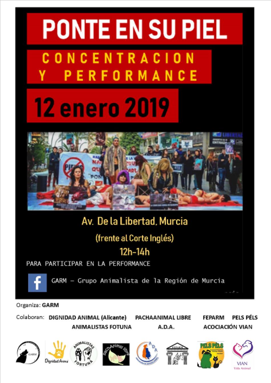 Colectivos y asociaciones animalistas convocan una concentración y una performance contra la industria peletera frente a El Corte Inglés de Murcia