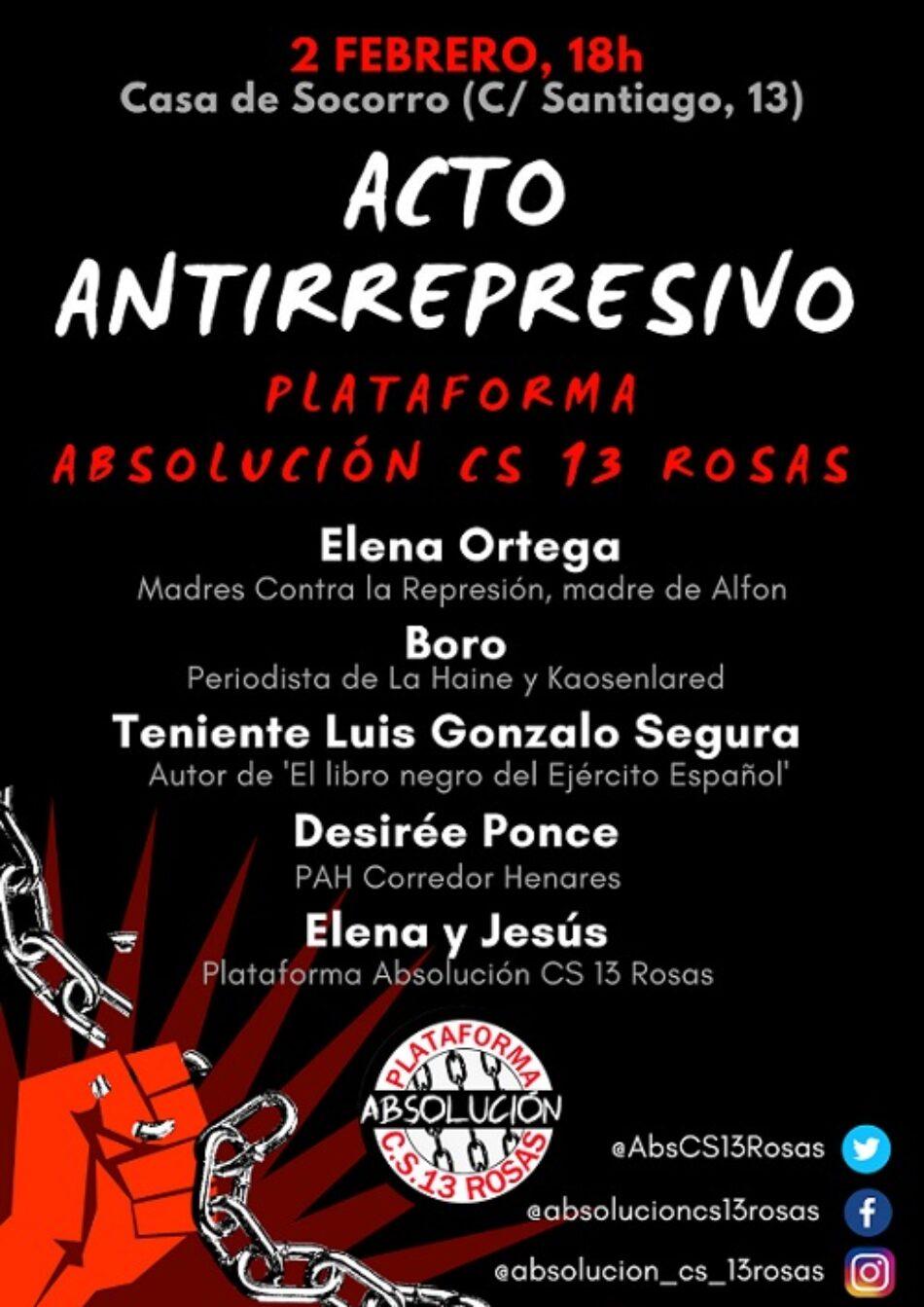 La Plataforma Absolución Centro Social 13 Rosas celebra este sábado un acto antirrepresivo para volver a exigir la absolución de Elena y Jesús