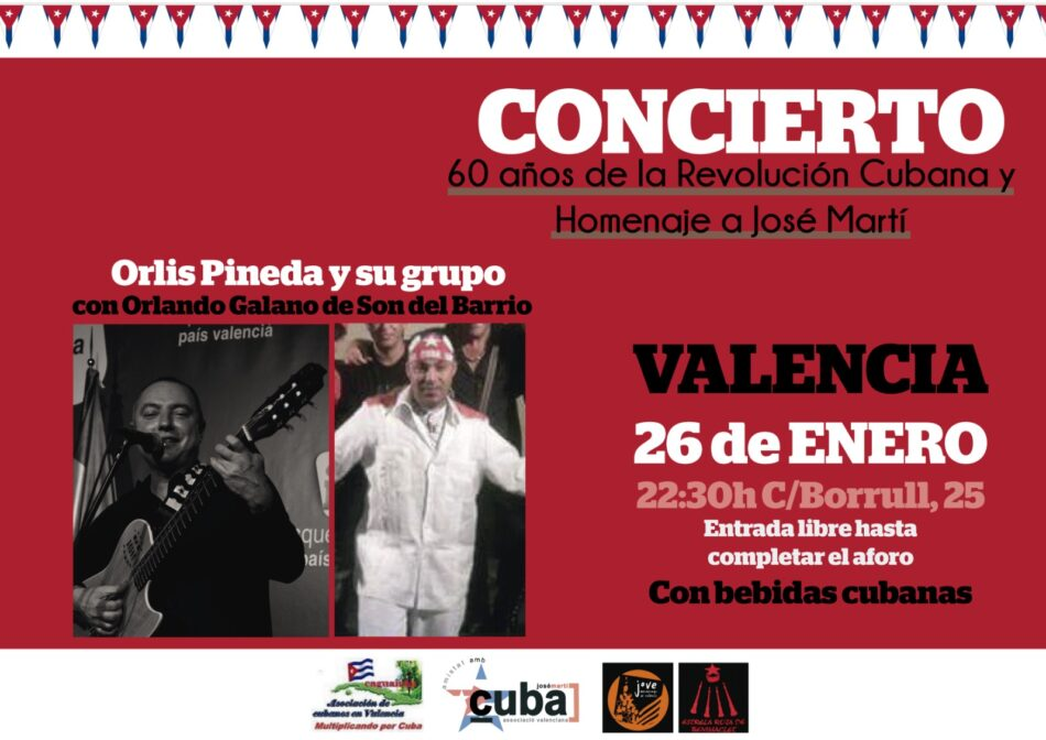 Valencia acoge un homenaje a José Martí, libertador de Cuba, y al 60 aniversario de la Revolución Cubana el próximo 26 de enero