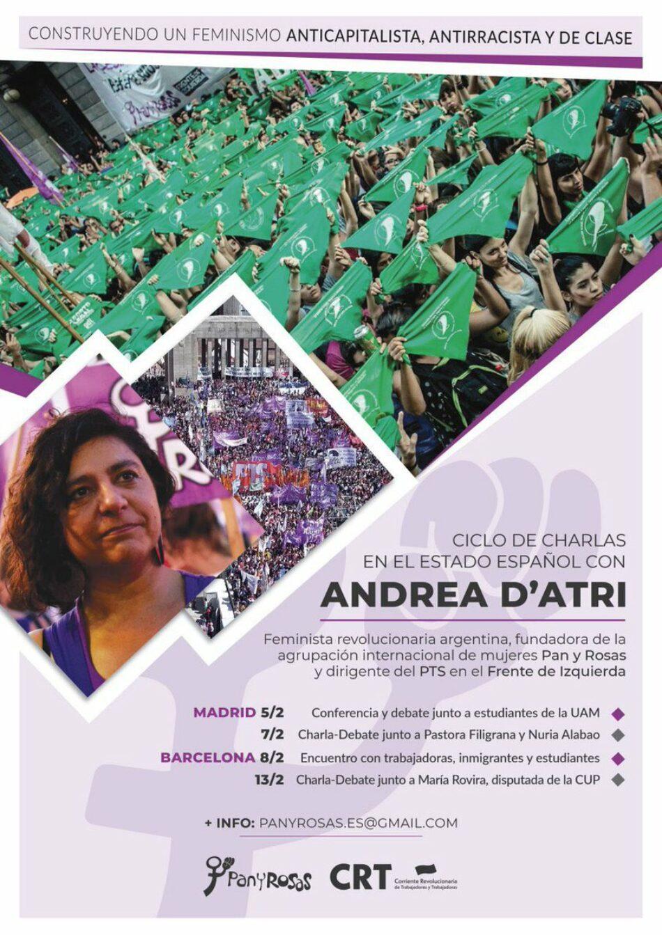La feminista y dirigente de la izquierda argentina Andrea D' Atri realiza actividades en Madrid y Barcelona
