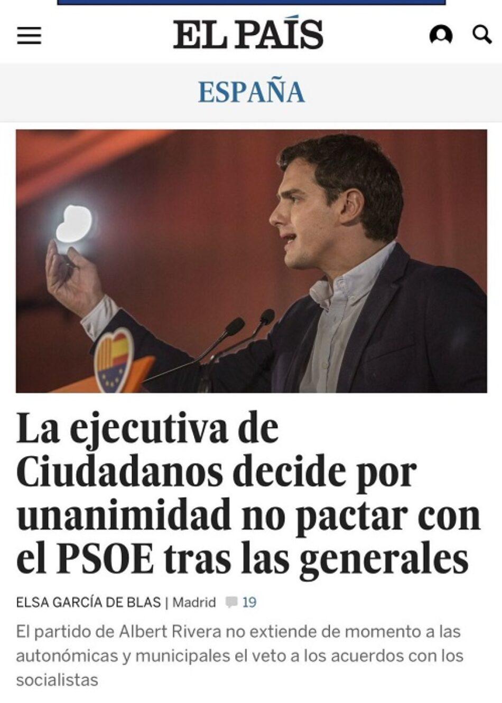 Ciudadanos dice que no pactará con el PSOE tras las elecciones generales, pero la hemeroteca les deja en evidencia