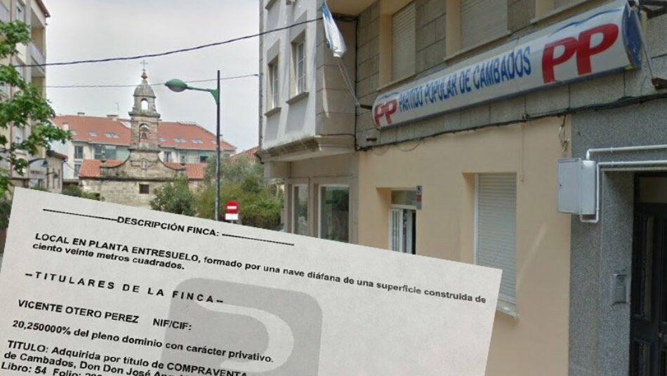 O falecido contrabandista Terito segue figurando como un dos propietarios da sede do PP en Cambados