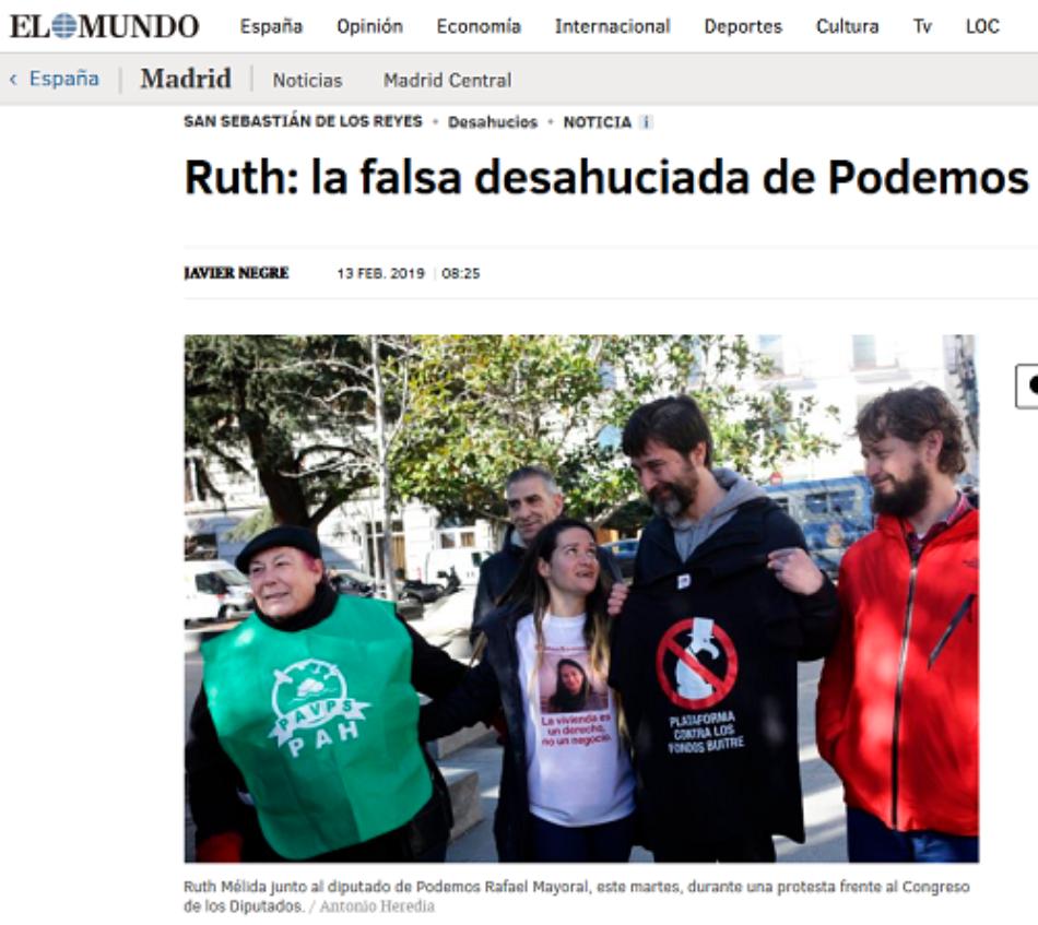 """Lazora Non Grata desmonta la información de El Mundo bajo el titular """"Ruth: la falsa desahuciada de Podemos"""""""