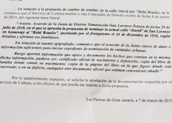 «El Ayto. de Las Palmas pide documentación imposible de conseguir para conceder una calle al bebé Braulio, asesinado por los fascistas»