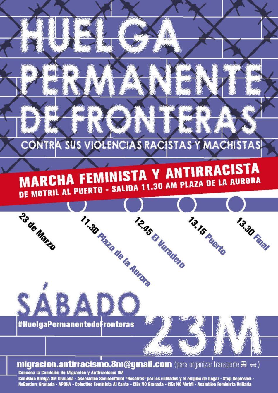 La Comisión Migración y Antirracismo 8M y colectivos feministas y antirracistas convocan una manifestación en Motril contra las violaciones de derechos que se producen en la Frontera Sur