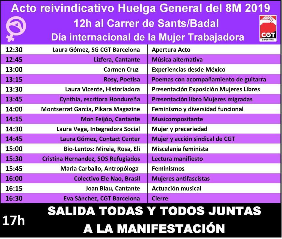 Actos y convocatorias de la CGT de Barcelona para la Huelga General de 24 horas del 8 de marzo
