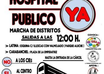 Manifestación vecinal por un hospital público en los terrenos de la antigua cárcel de Carabanchel