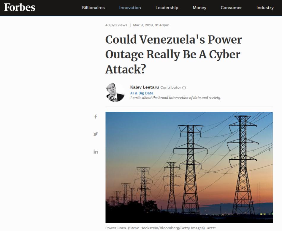 Forbes sugiere que Washington ordenó ciberataque contra Venezuela / Ciberguerra contra el sistema eléctrico: las confesiones de EEUU en 2018