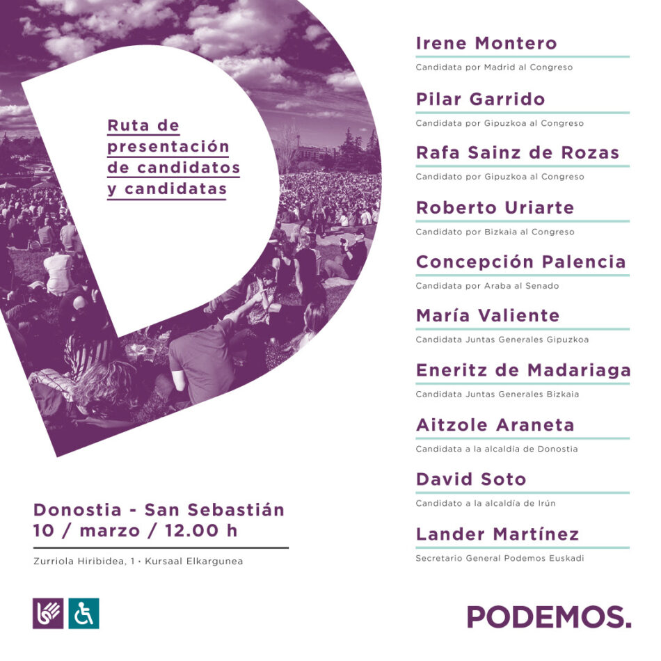 La ruta de Unidas Podemos para presentar sus candidaturas a las elecciones llega a Donosti