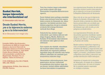 Euskal Herria: partidos, sindicatos y Coordinadora de ONGD denuncian intervención en Venezuela y piden respeto a su gobierno electo