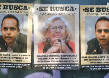 """""""Se busca"""" a Manuela Carmena y José Manuel Calvo en Butarque (Villaverde)"""