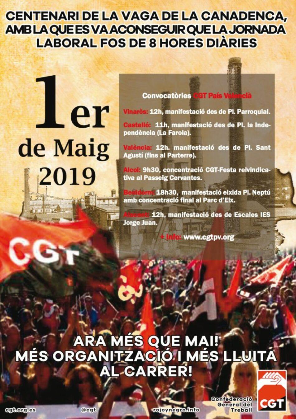 CGT-PV davant el 1er de Maig 2019: Ara més que mai! Més organització i més lluita al carrer!
