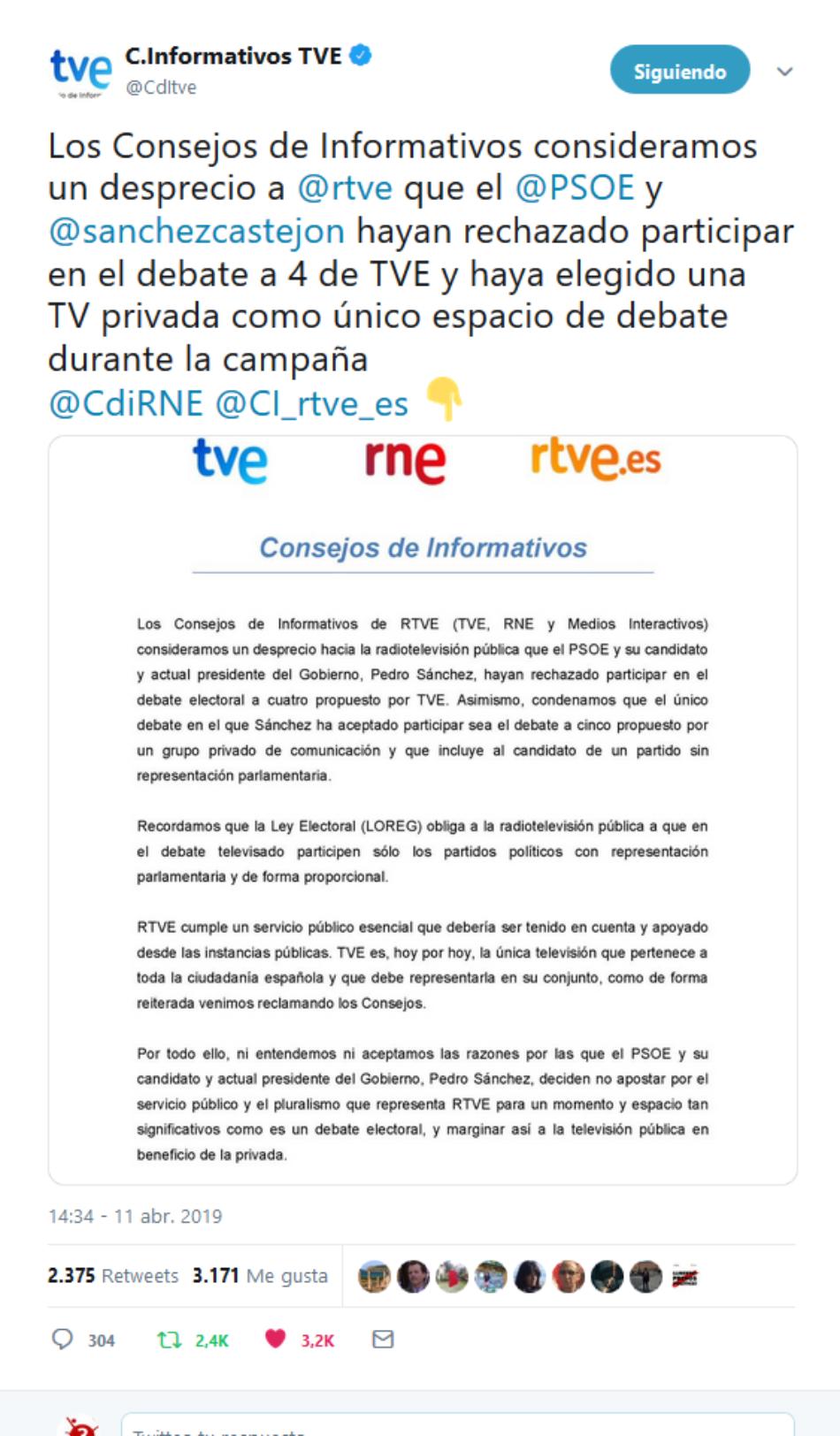 El Consejo de Informativos denuncia que Sánchez no acuda al debate electoral a 4 de TVE y acepte ir al de Antena3