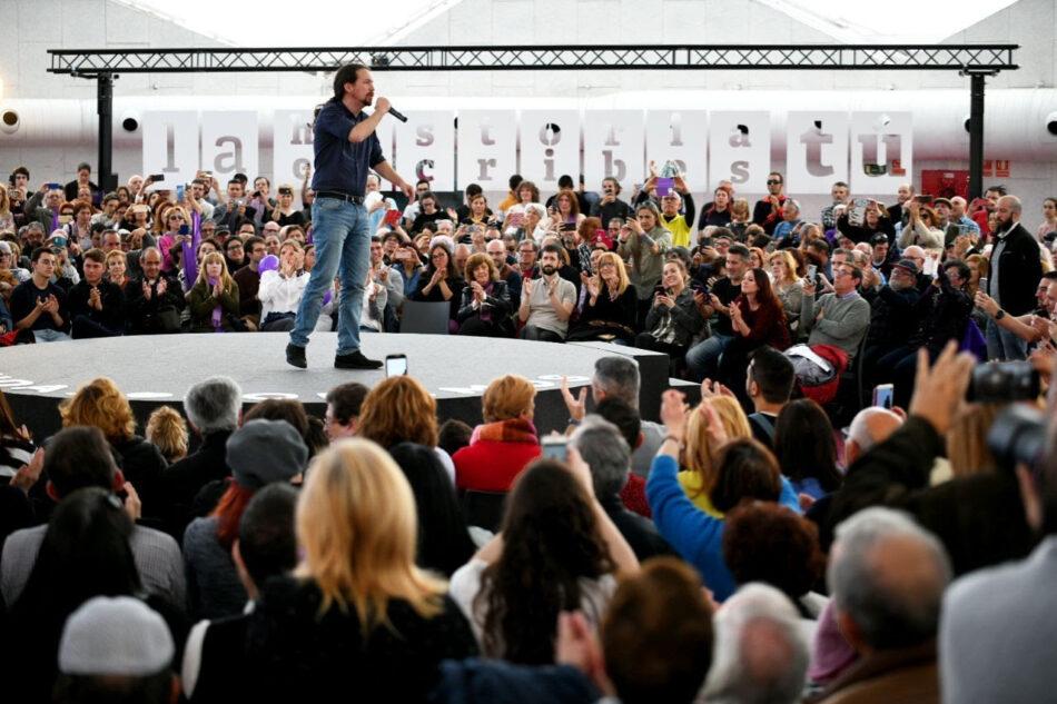 Iglesias, en Valladolid: «El domingo, el voto de cualquiera de vosotros y vosotras vale igual que el voto de Botín, de Florentino Pérez y de Villar Mir»