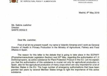 España quiere traer de vuelta un plaguicida no autorizado por su alta peligrosidad, según documentos desvelados por Ecologistas en Acción