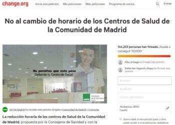 SATSE Madrid reactiva su recogida de firmas ante el anuncio del Gobierno regional de mantener la reducción horaria en centros de salud de la Comunidad de Madrid