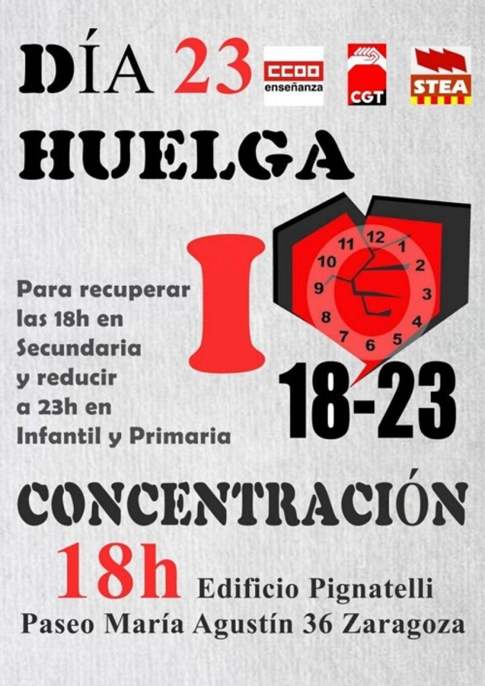 «El PCE Aragón en apoyo a la Huelga Educativa #23M» – 23 mayo 2019