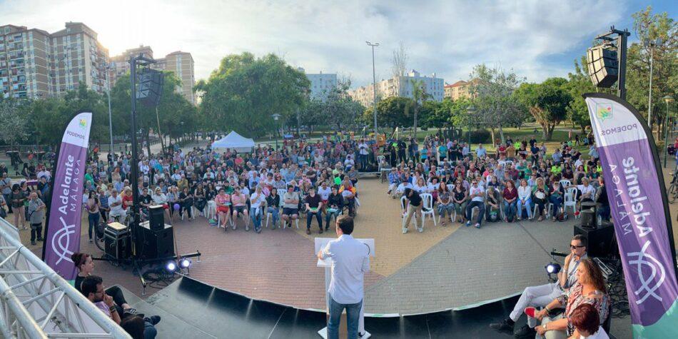 """Alberto Garzón afirma desde Málaga que las elecciones del domingo son """"fundamentales"""" para señalar al Gobierno que """"el camino es por la izquierda y no por el 'camino naranja'"""""""