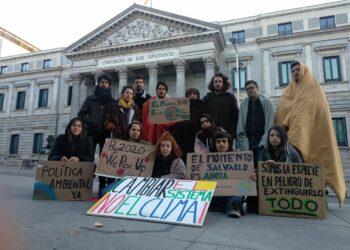 Un grupo de jóvenes pasaron la noche frente al Congreso en apoyo al grupo internacional de Fridays for Future