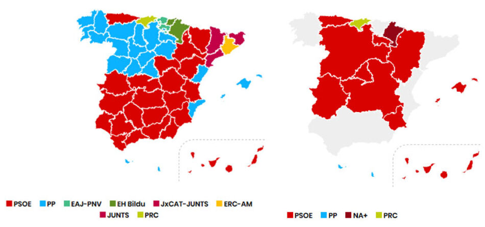 El «voto útil» favorece a PSOE y PP, que recuperan terreno a escala autonómica y municipal este 26M