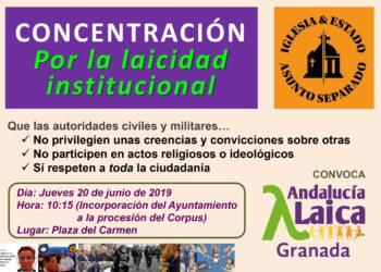 Granada Laica rechazará con carocas la participación del Ayuntamiento y de diversas autoridades en la procesión del Corpus