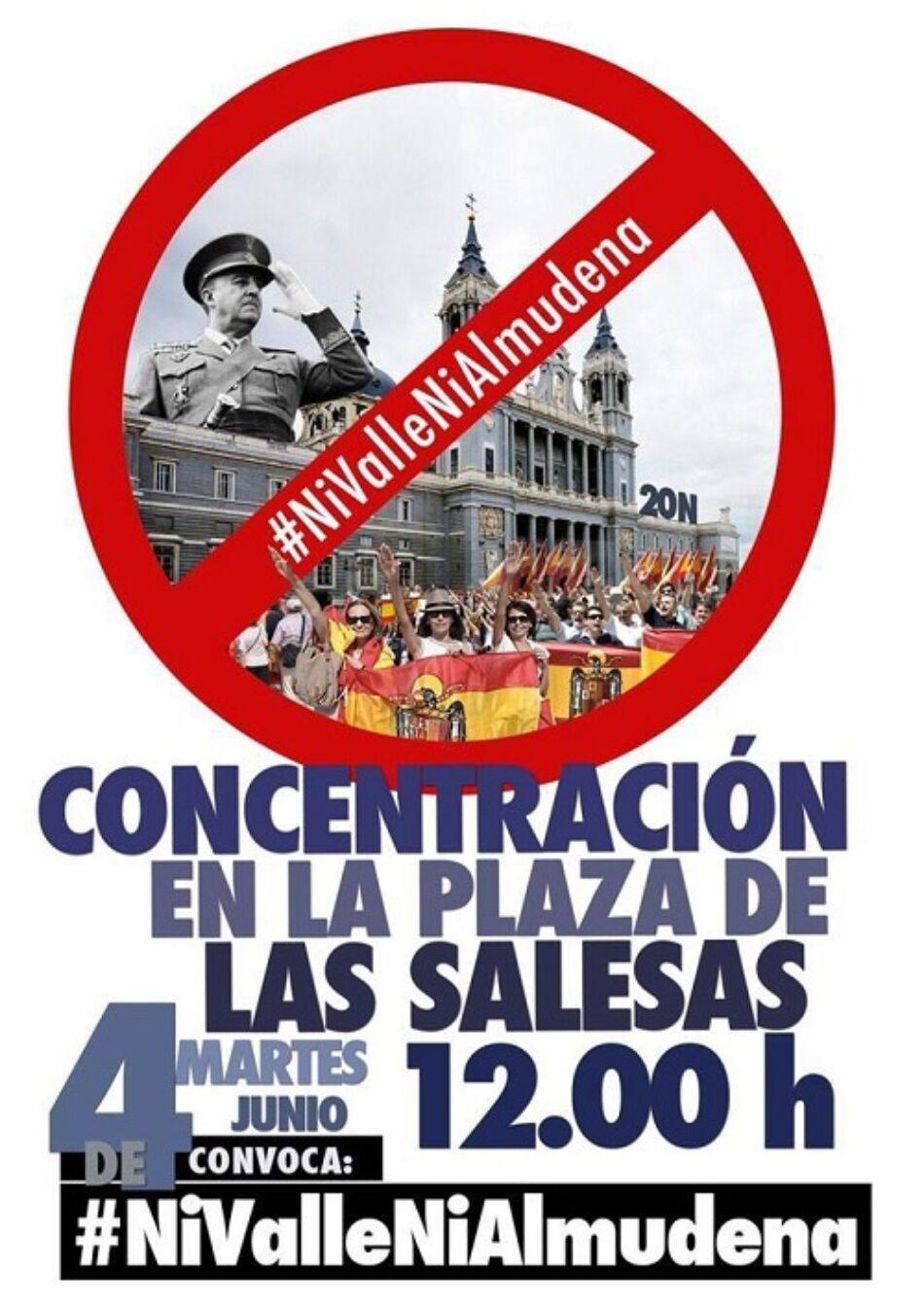 La Plataforma 'Ni Valle ni Almudena' convoca concentración hoy frente al Tribunal Supremo para exigir la exhumación inmediata de Franco